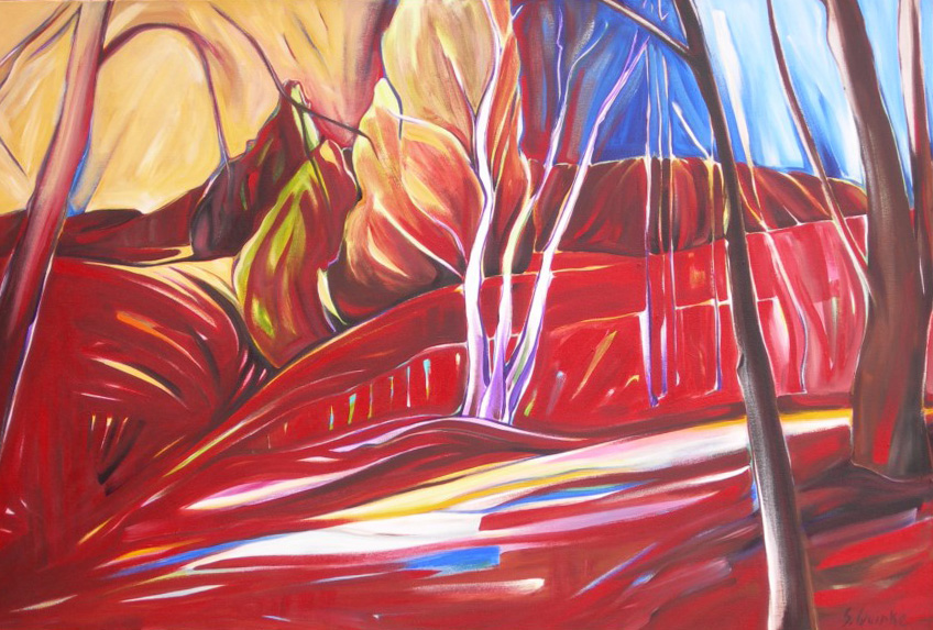 East of Eden 2011 - Birches on the Escarpment #2 (Sunsilk Red Series)  40 X 60  AVAILABLE (1000 x 750).jpg