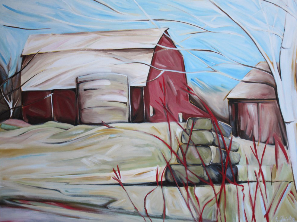 East of Eden 2011 - The Barn, On the Way to Owen Sound (Sunsilk Red Series)  48 X 60  AVAILABLE (1000 x 750).jpg