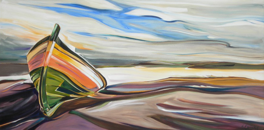 Precious Stones - Sapphire Sky, On-Shore Dory in the Gaspe Bay (PSS)  30 X 60  SOLD (1000 x 750).jpg