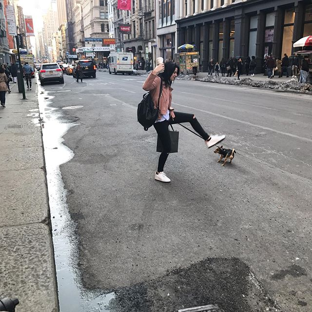 I know this looks like I'm about to maul my dog but no @croutondog s were harmed during the making of this photo. #shoppinginsoho #soho #manhattan #imisshome