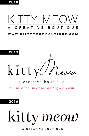 Different Kitty Meow logos throughout the years.