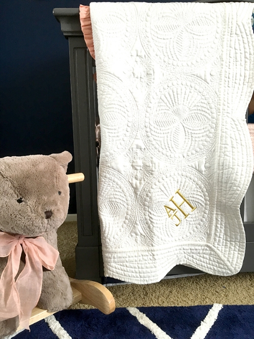 Ivory and Gold Embroidered Monogram Quilt from Southern SALT Boutique