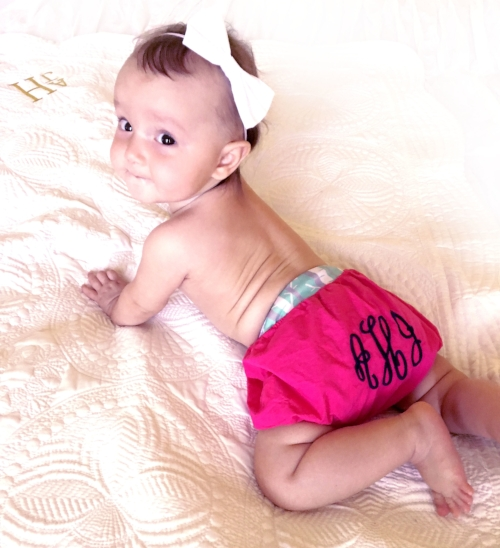 Me in my cutie monogrammed Diaper Cover by Mark and Graham.