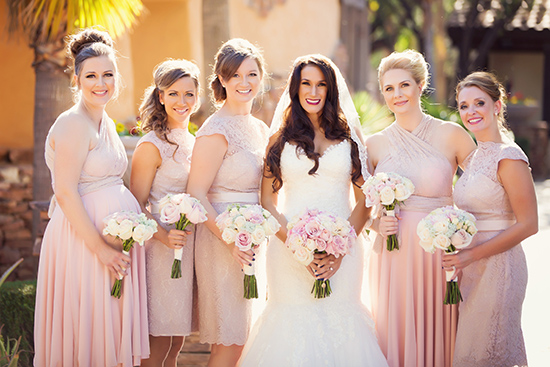 Team Bride. Blush bridesmaid dresses from Watters and  CoralieBeatrix .