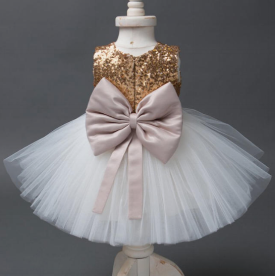 Gold Sequined, Giant Bow,Princess Party Dress from  Popreal