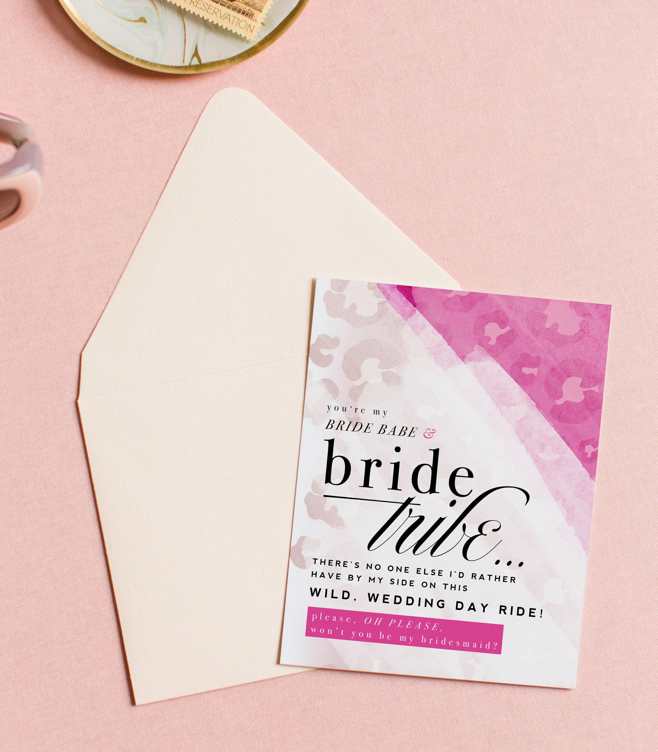 Bridal shower THANK YOU cards wedding BRIGHT PINK 5 bridesmaid
