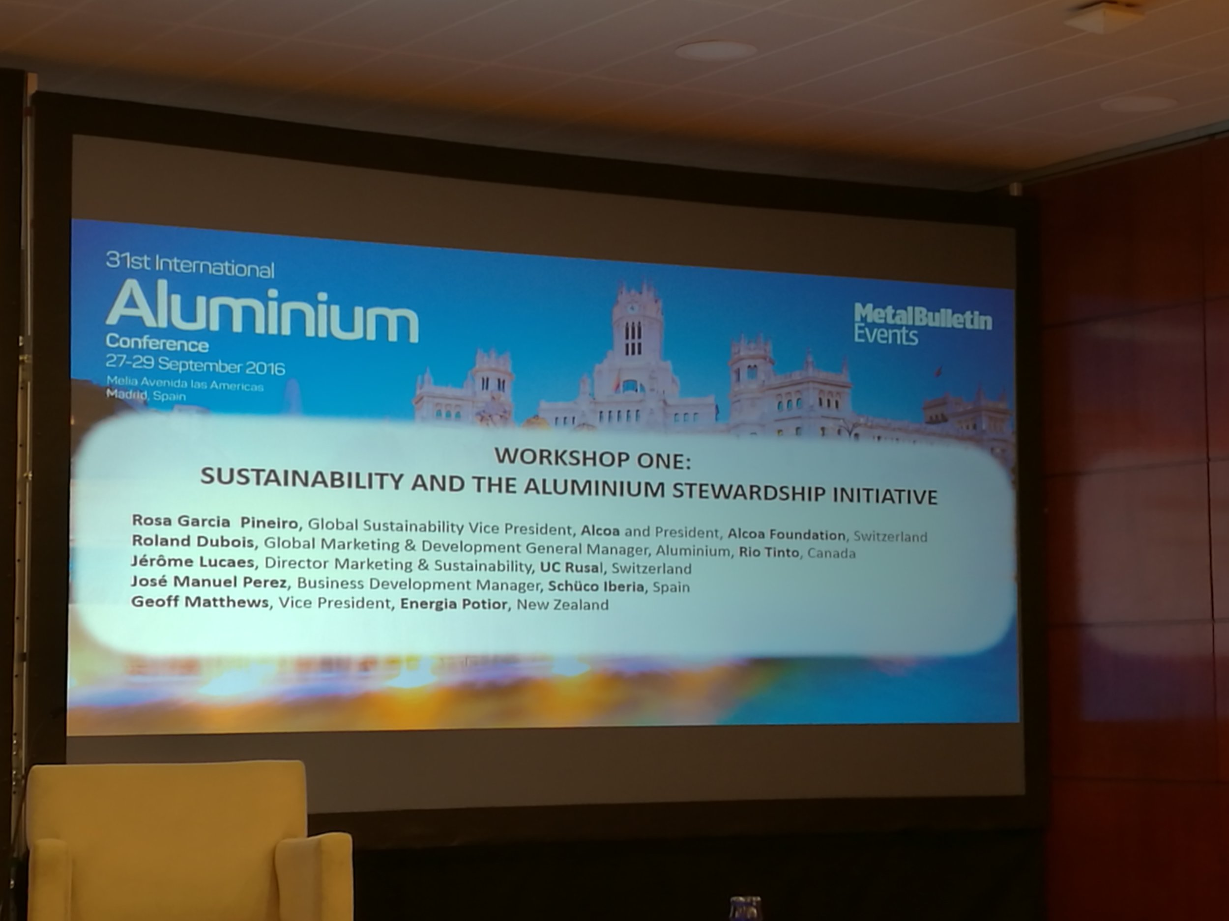 Last week Geoff Matthews, Vice President of Energia Potior, was one of the panel presenters at the ASI workshop at the 31st International Aluminium Conference in Madrid, Spain. Other panelists included representatives from Alcoa, Rio Tinto, UC Rusal and Schuco Iberia.  A copy of Geoff's presentation can be found here: