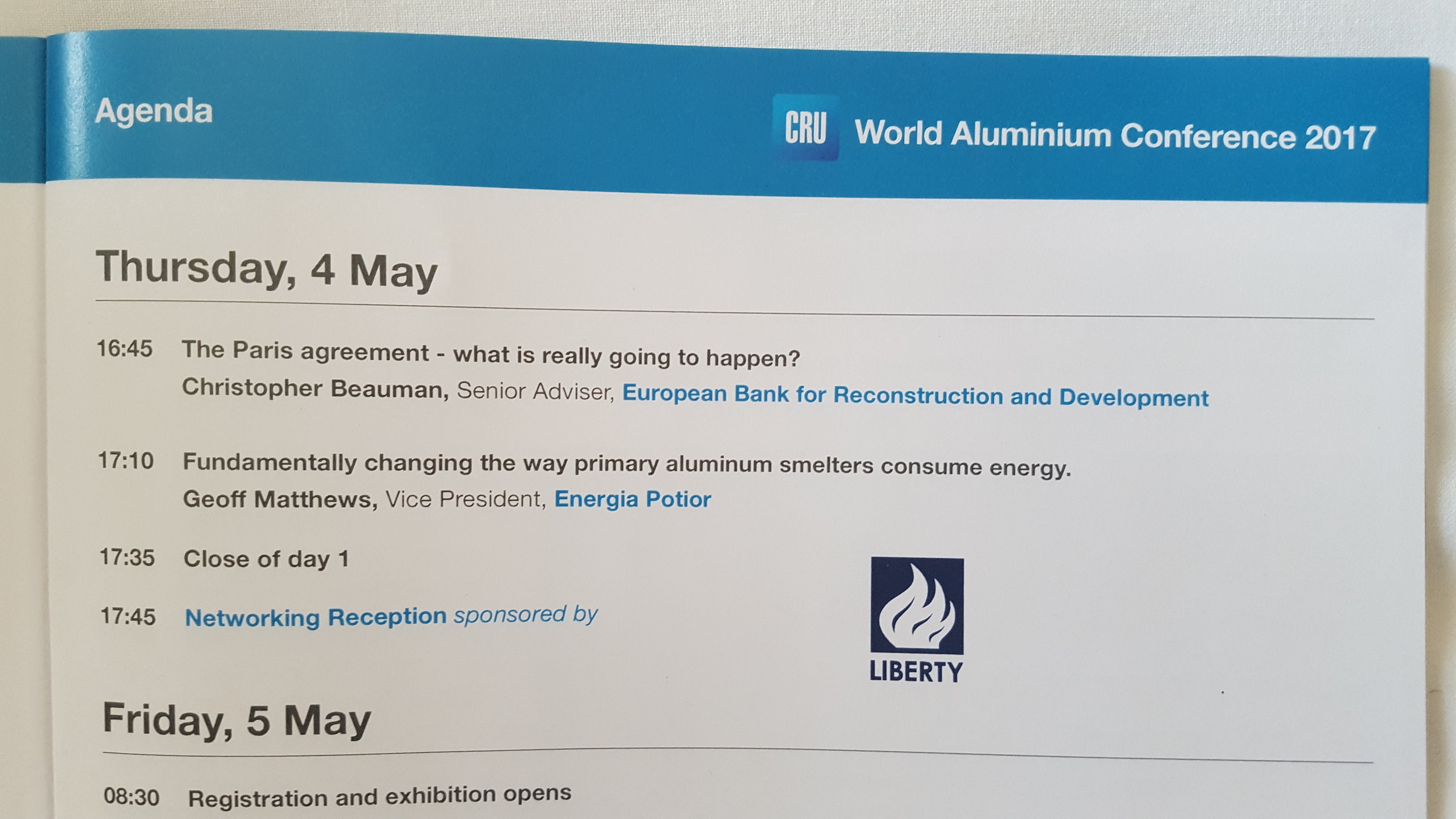 Last week Geoff Matthews spoke at the 2017 CRU World Aluminium Conference.    You can view a copy of his presentation by clicking HERE.