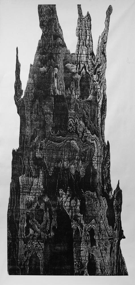 """Drip Castle"" Woodcut 48"" x 96"" 2015"