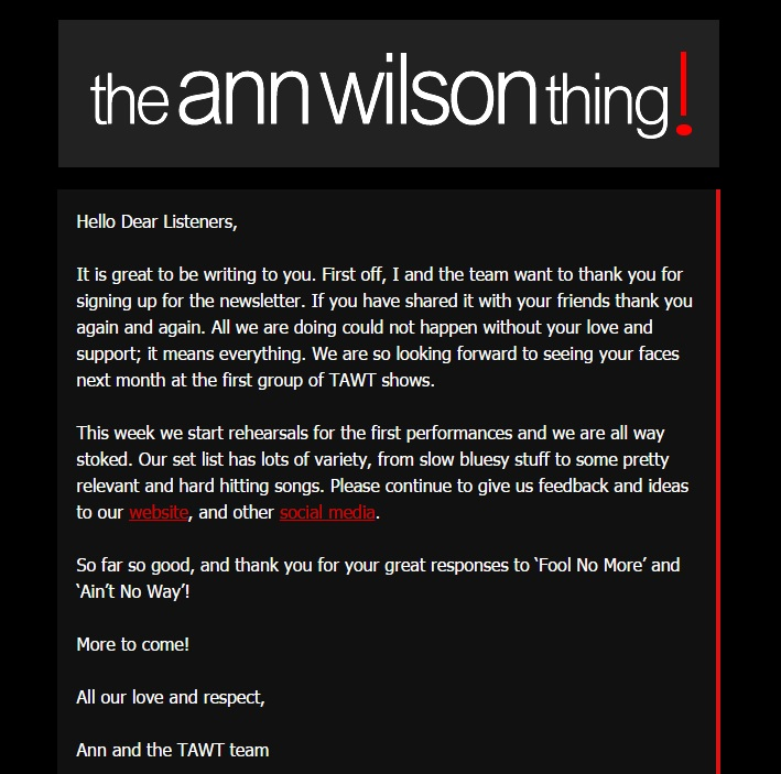 the ann wilson thing newsletter