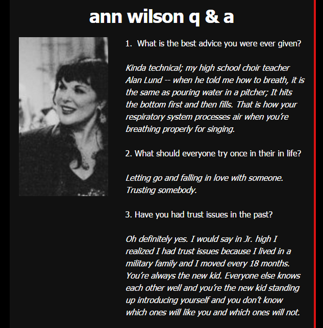 ann wilson questions and answers