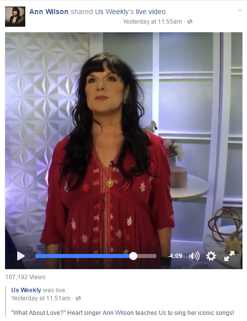 ann wilson on us weekly facebook live