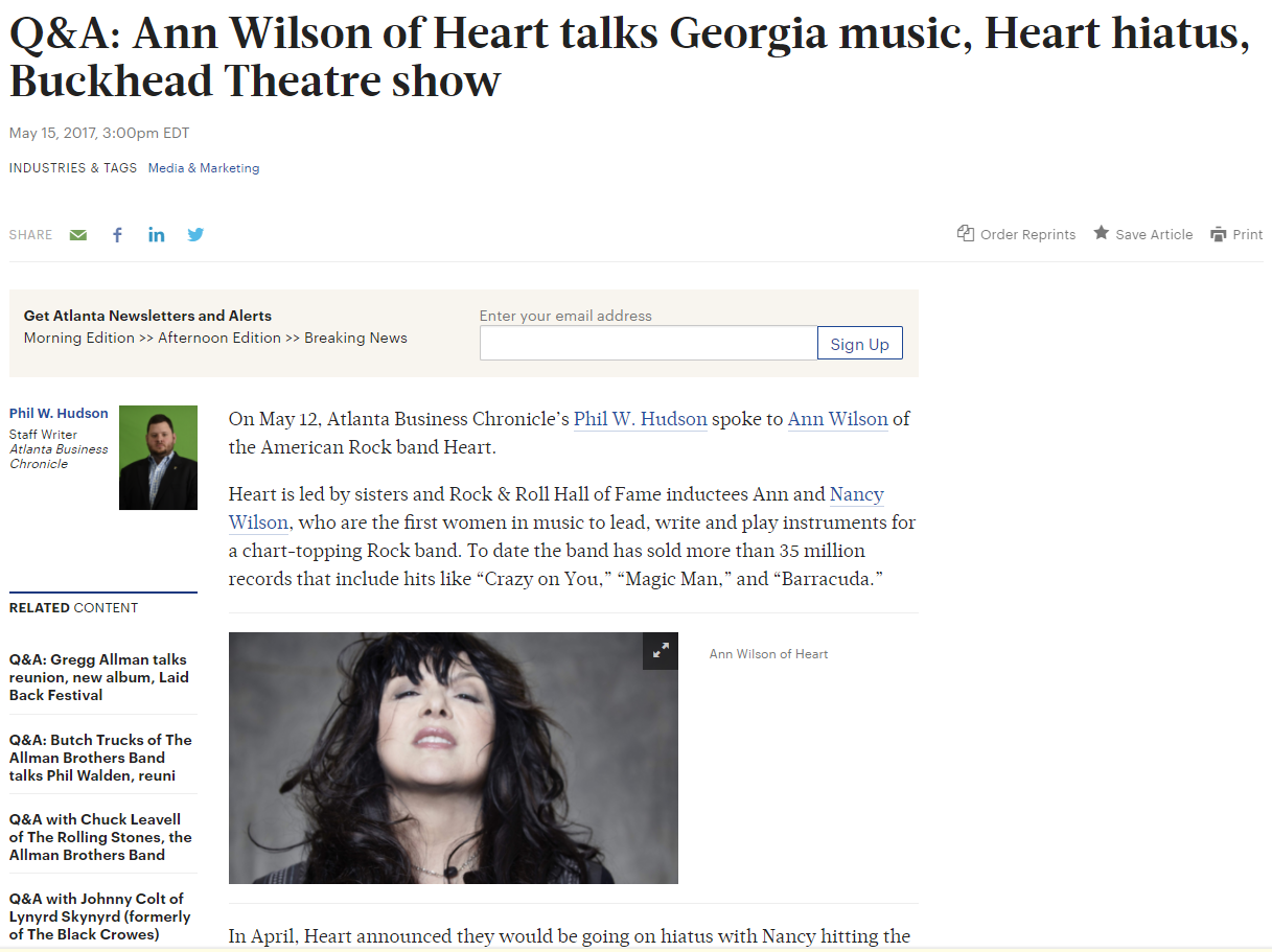 Ann Wilson of Heart talks Georgia music