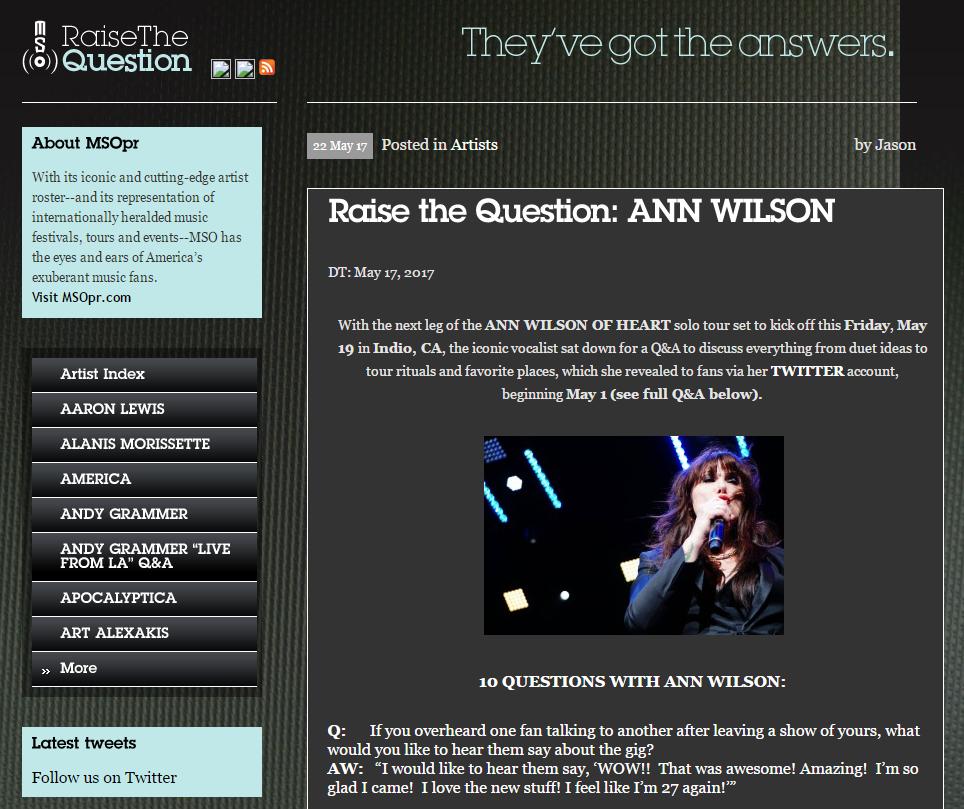 ann wilson 10 questions