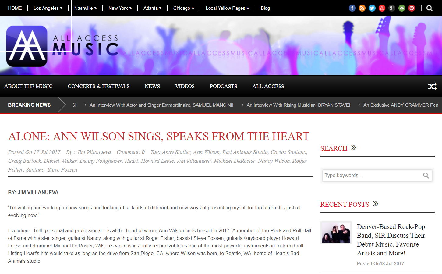 ann wilson all music interview