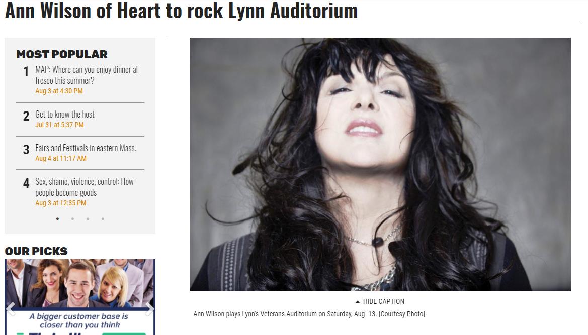 Ann Wilson of Heart Tour 2017