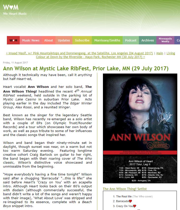 ribfest review ann wilson