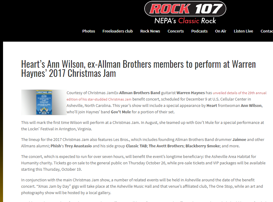 ann wilson playing warren haynes christmas jam