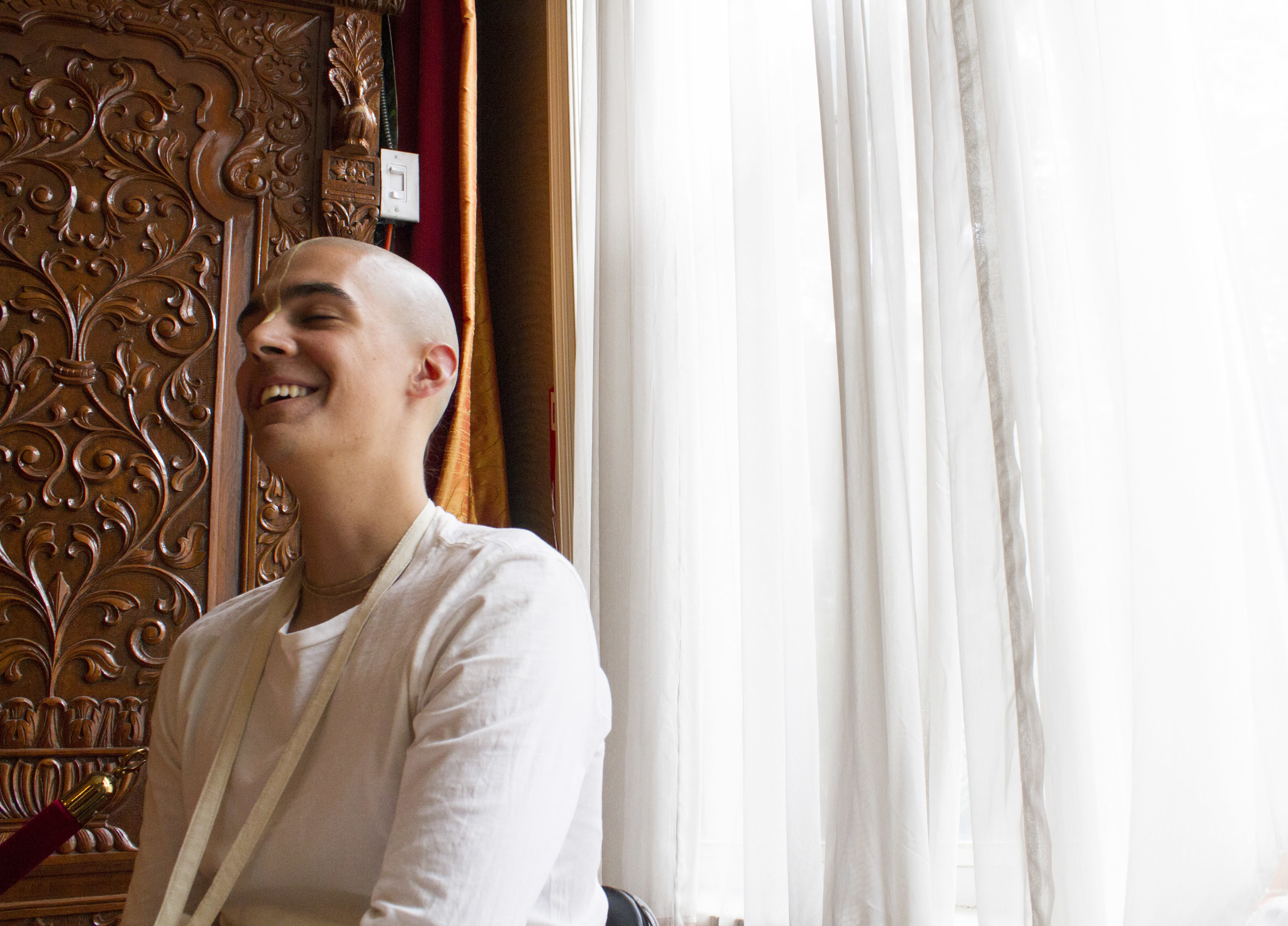 Hare Krishna monk Alex Seibel, 19, in the East Village ashram he lives in with other monks.