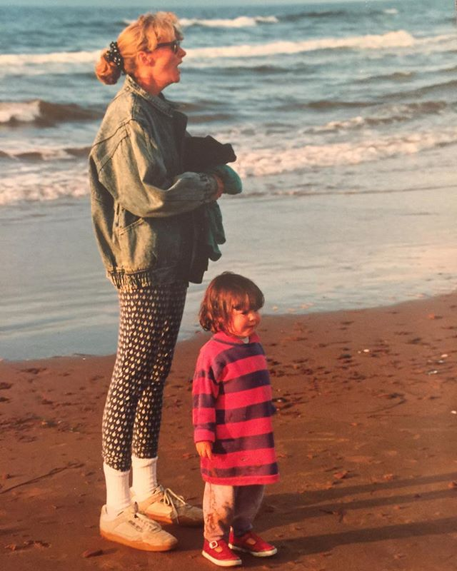 It's not easy being this stylish. Throwback Thursday featuring Mama Griffin and her little troll. (This is the same family trip my siblings dug a hole in the sand and tricked me into walking into it)