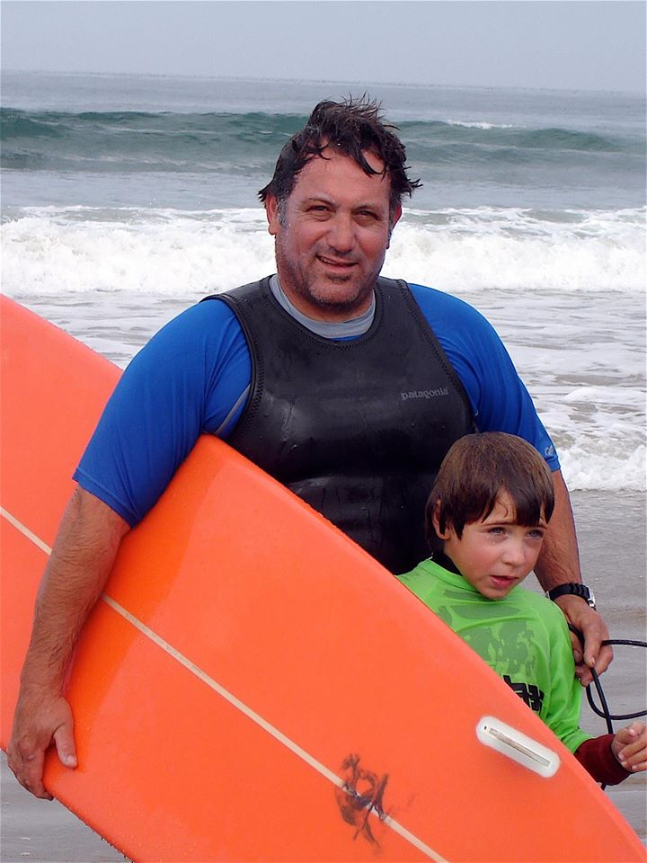 Surfing with my son Niki !