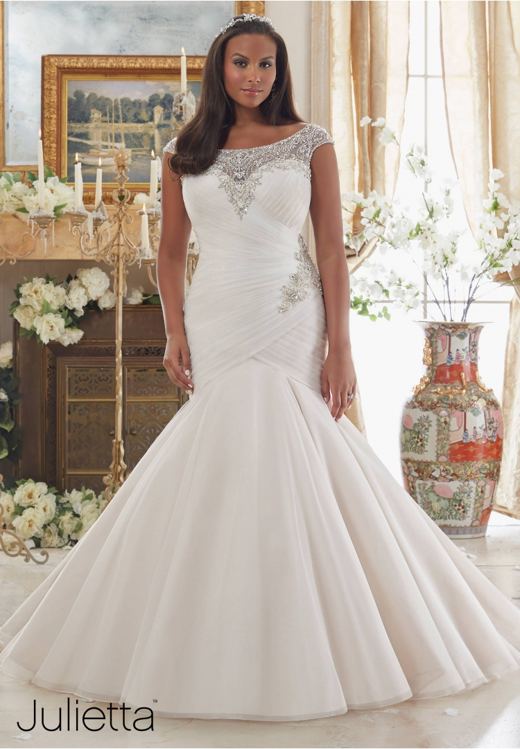 One of the many gowns that will arrive this Fall from all of our designers. This gorgeous gown is from MoriLee's curvy collection,  Julietta  #3206