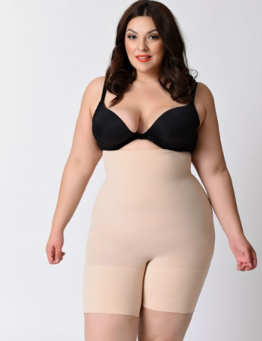 Spanx higher power short shaper smooths the tummy, hips and thighs. Size up to 3X $38 at  Spanx.com  .  Curvy Rose is not a paid sponsor for Spanx.