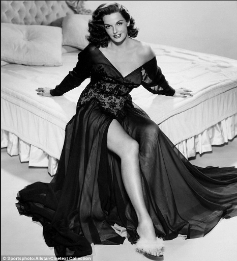 One of the original Hollywood bombshells, actress Jane Russell during a time when women wore constricting undergarments to achieve that hourglass look.