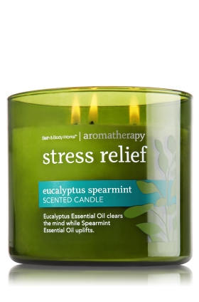 Bath & Body Works carries a great selection of aromatherapy candles such as their Eucalyptus Spearmint Stress Relief candle.The Eucalyptus clears your mind, while the Spearmint helps to improve concentration. $22.50 at    Bath & Body Works   . Curvy Rose is not a paid sponsor for Bath & Body Works.