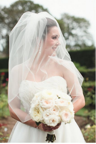 Bride with elbow length veil and blusher