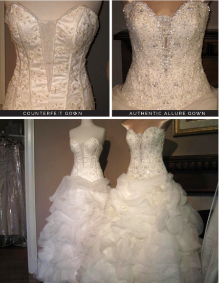 Example of a counterfeit gown compared to a real designer dress. Can you tell the difference?