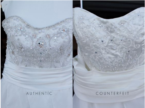 Example of an authentic gown with a beaded bodice and a counterfeit version.