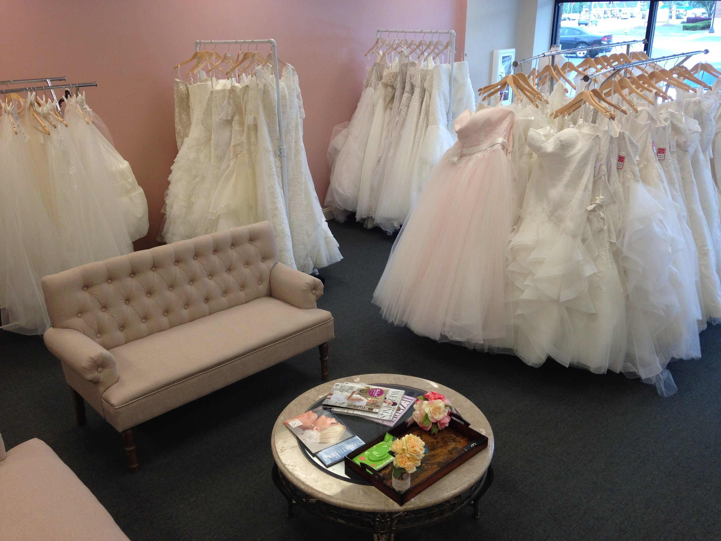 Our new storefront full of beautiful dresses for curvy brides!