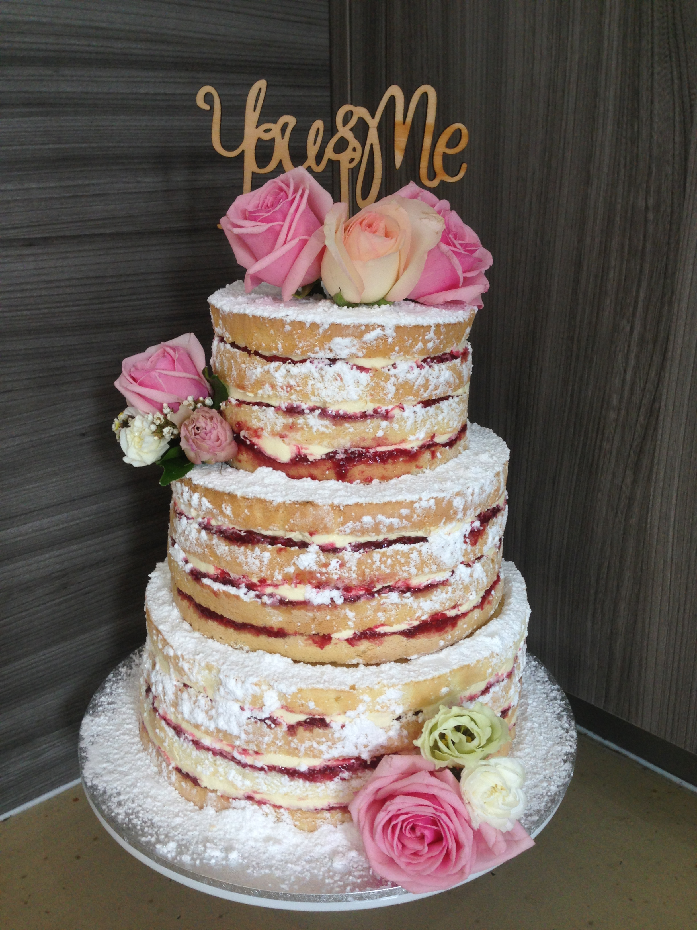 Vanilla Pod 3 Tier Naked Cake with fresh roses by boquet boutique.JPG