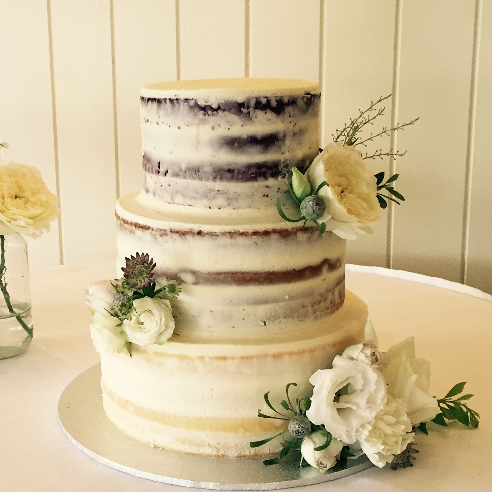 2 tier barely frosted wedding cake by Vanilla Pod.JPG