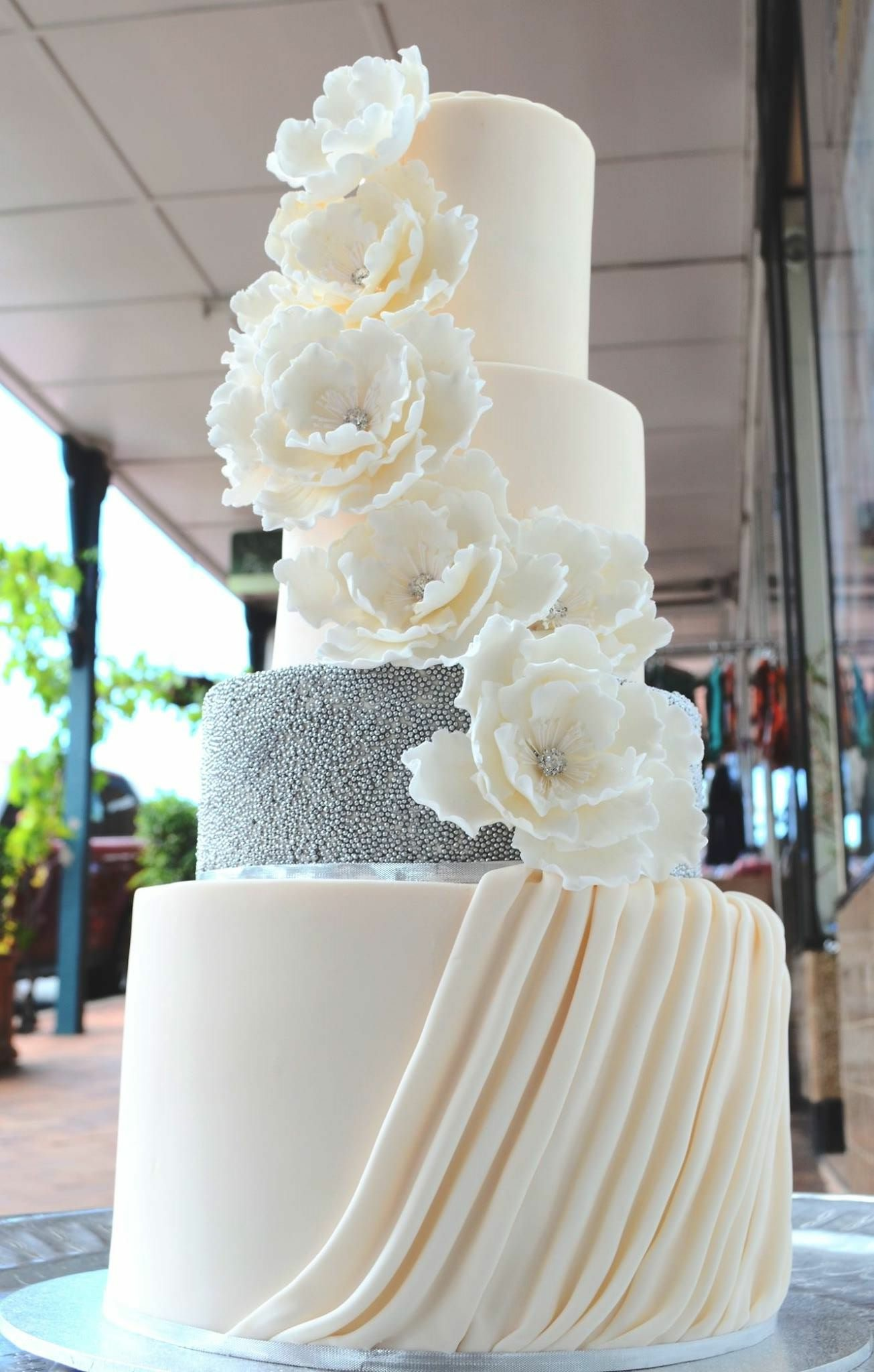 5 tier fondant wedding cake by Vanilla Pod Brisbane.JPG