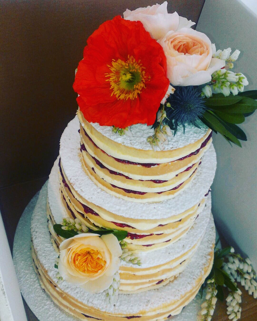 Vanilla Pod 3 tier naked wedding cake with fresh poppies.JPG