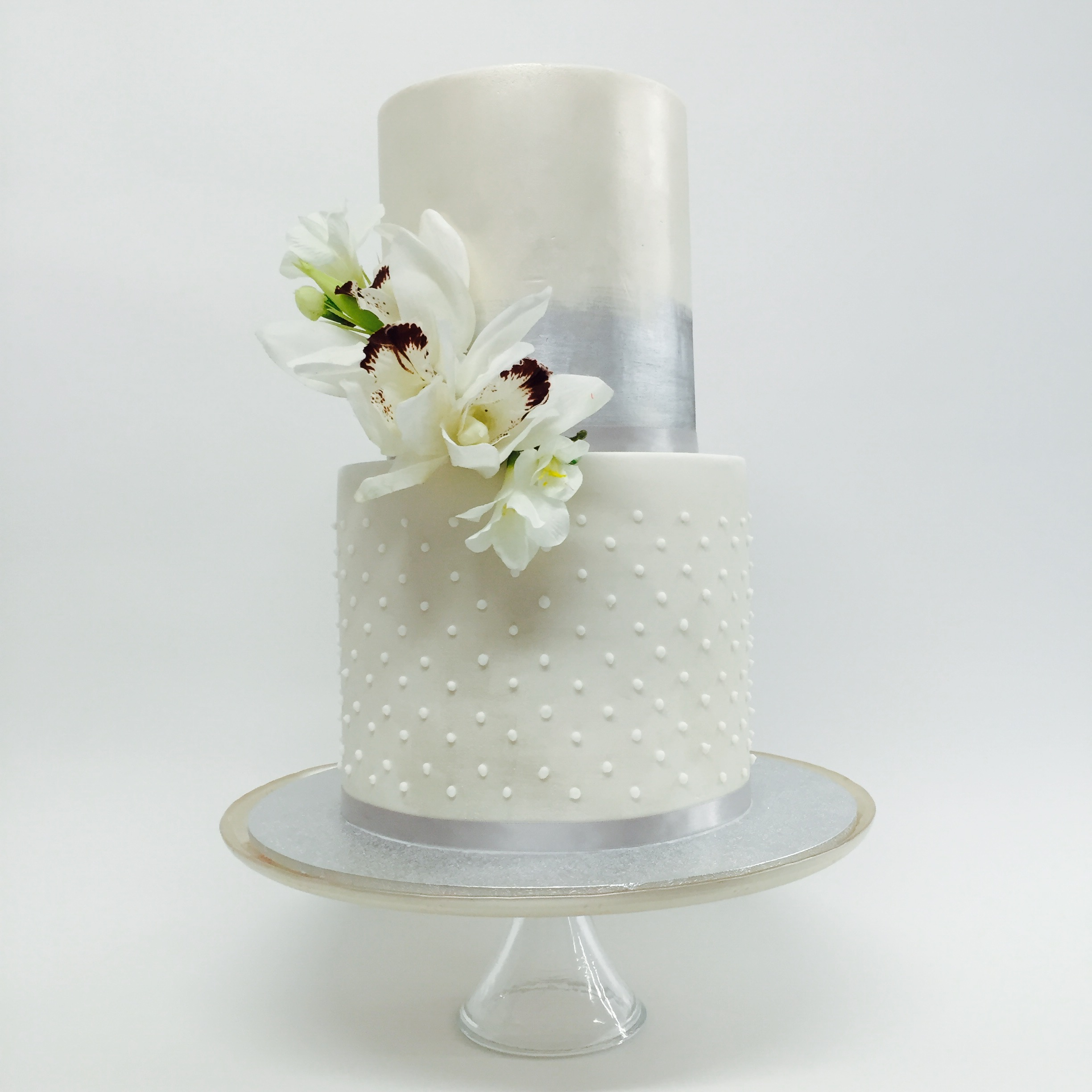Vanilla Pod wedding cake with lustered, silver with dots.jpg