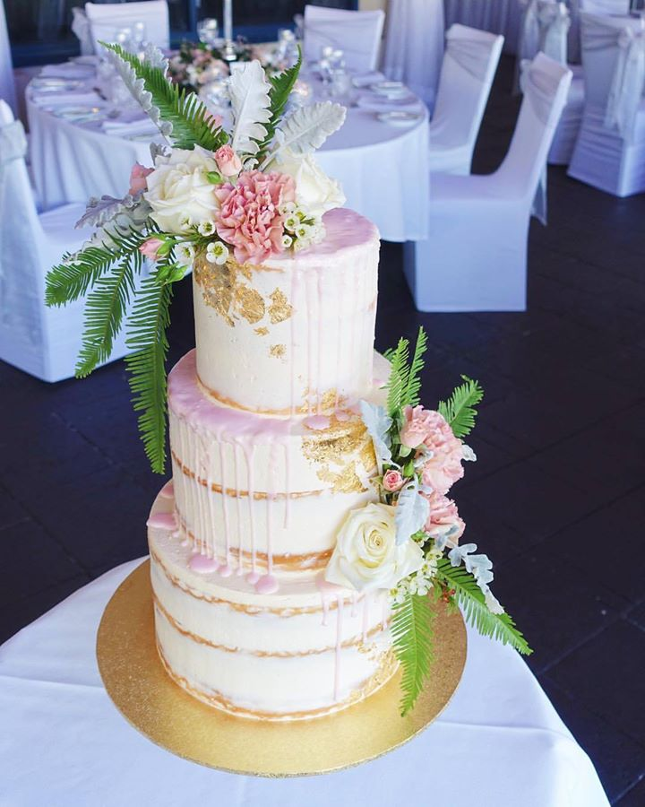 Vanilla Pod wedding cake with blush pink drizzle and gold leaf.jpg