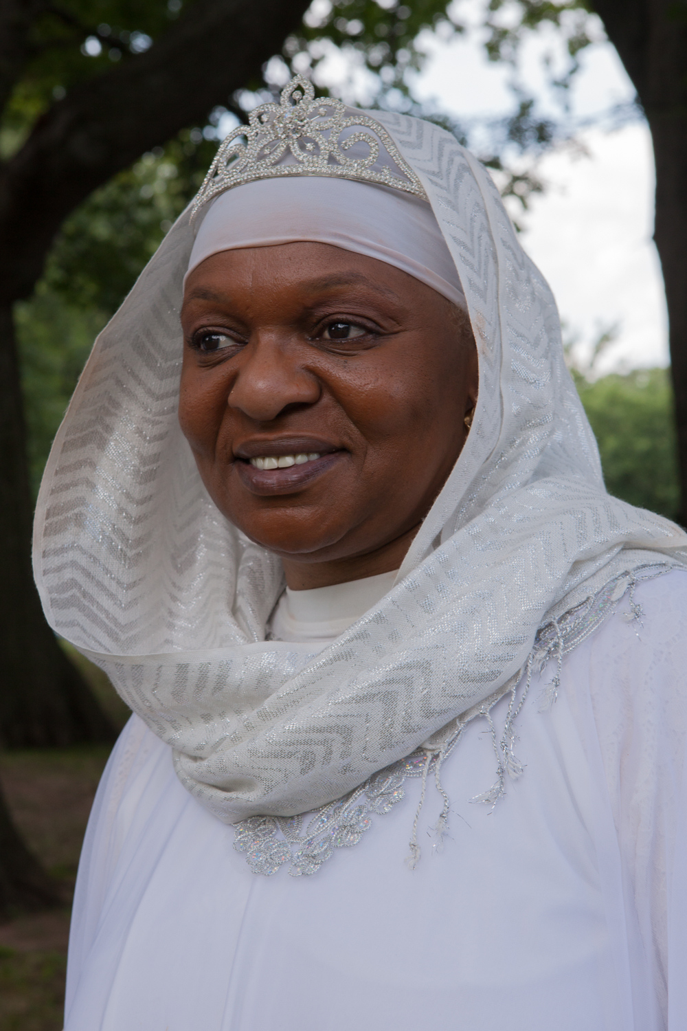 Zaimah Abdullah, politician and social worker, poses for a portrait while attending Eid al-Fitr celebrations in Newark, New Jersey on July 18, 2015.