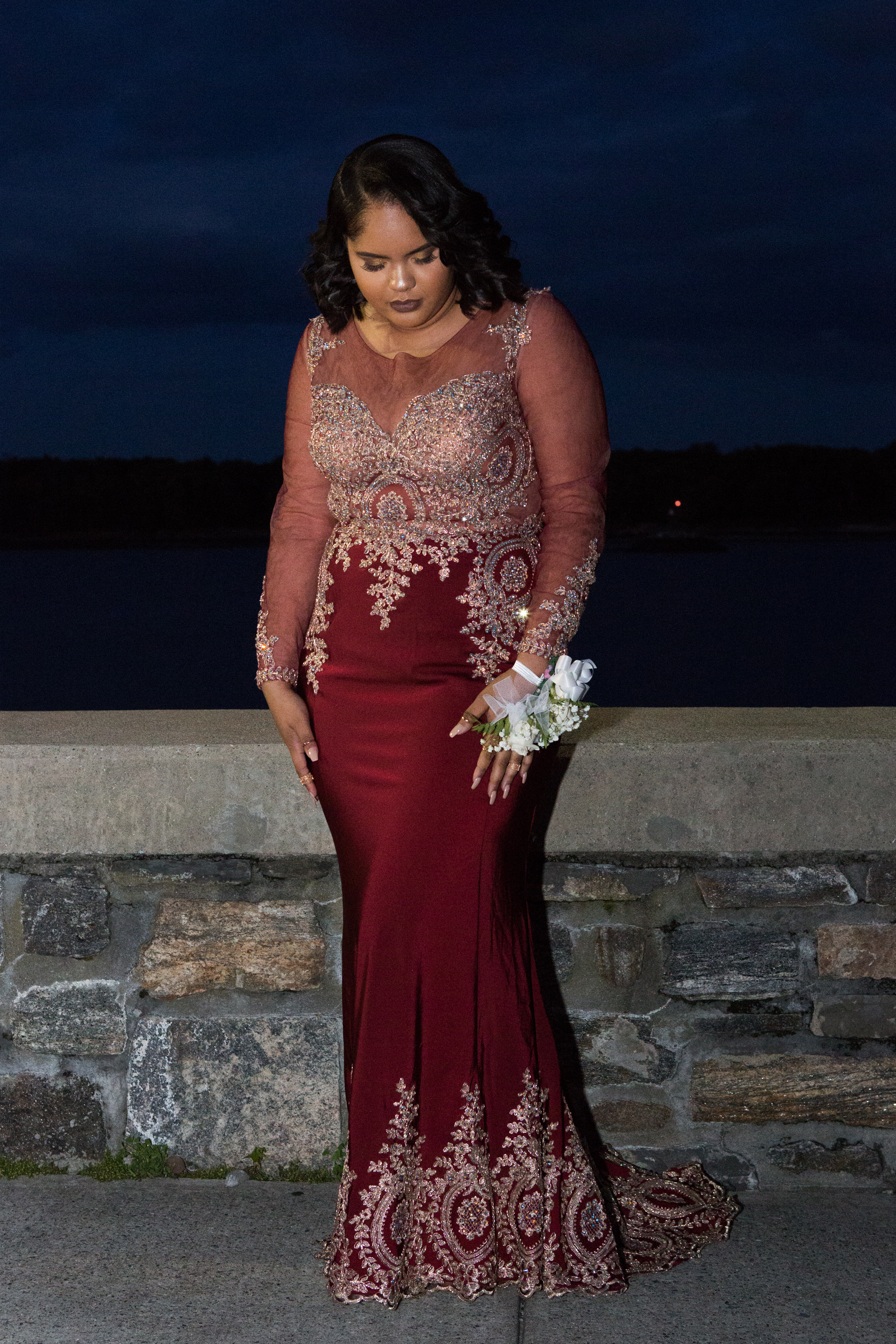 Angela, a student at DeWitt Clinton High School in the Bronx, attends the senior prom on June 8, 2016.