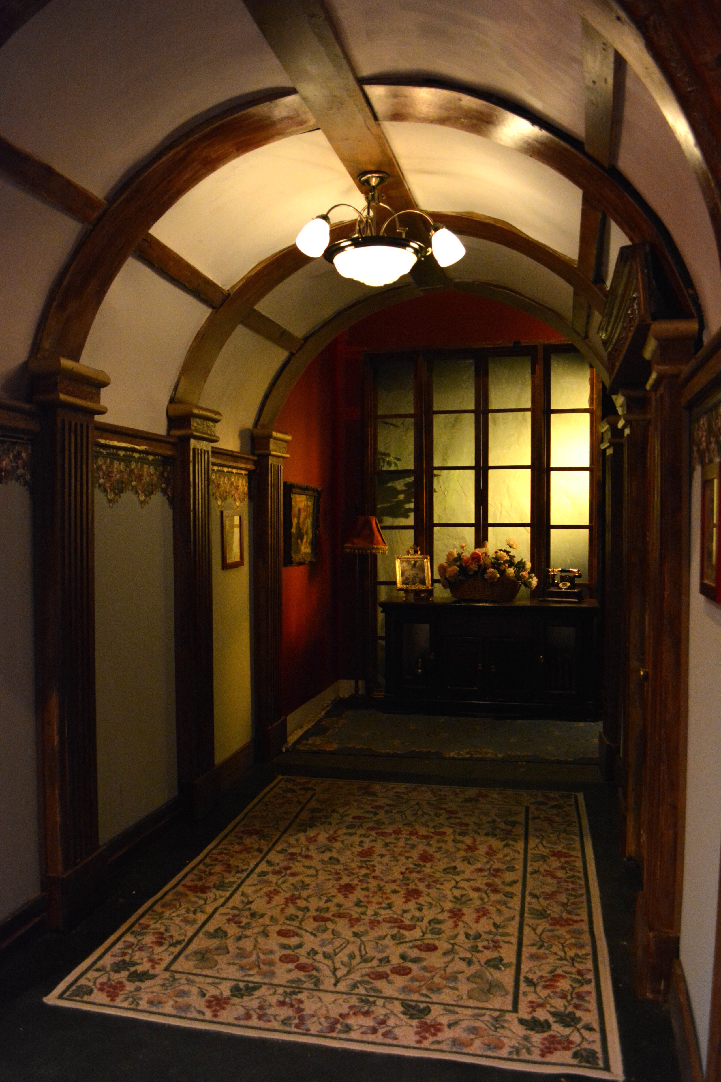 Close up shot of the upstage hallway.