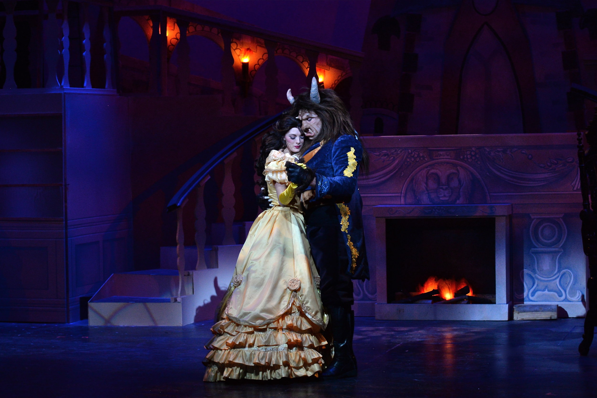 "Belle and Beast savor their first dance at the end of ""Beauty and the Beast""."