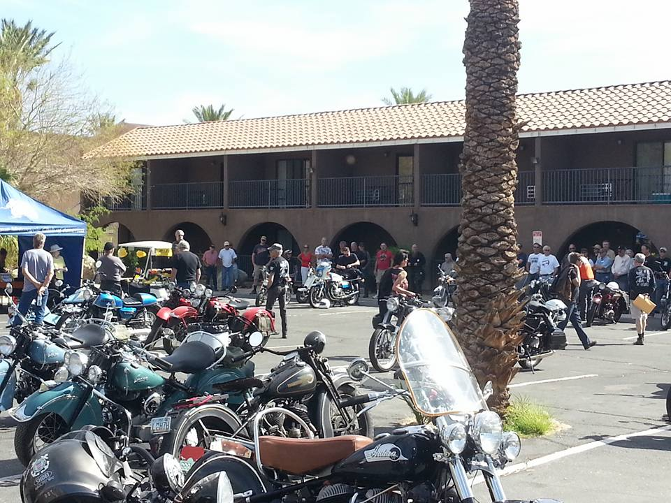 March 4 -  At the rider's meeting: an idea of the how we turn part the resort's parking lot into our home base hosting nearly a 100 motorcycle enthusiasts.