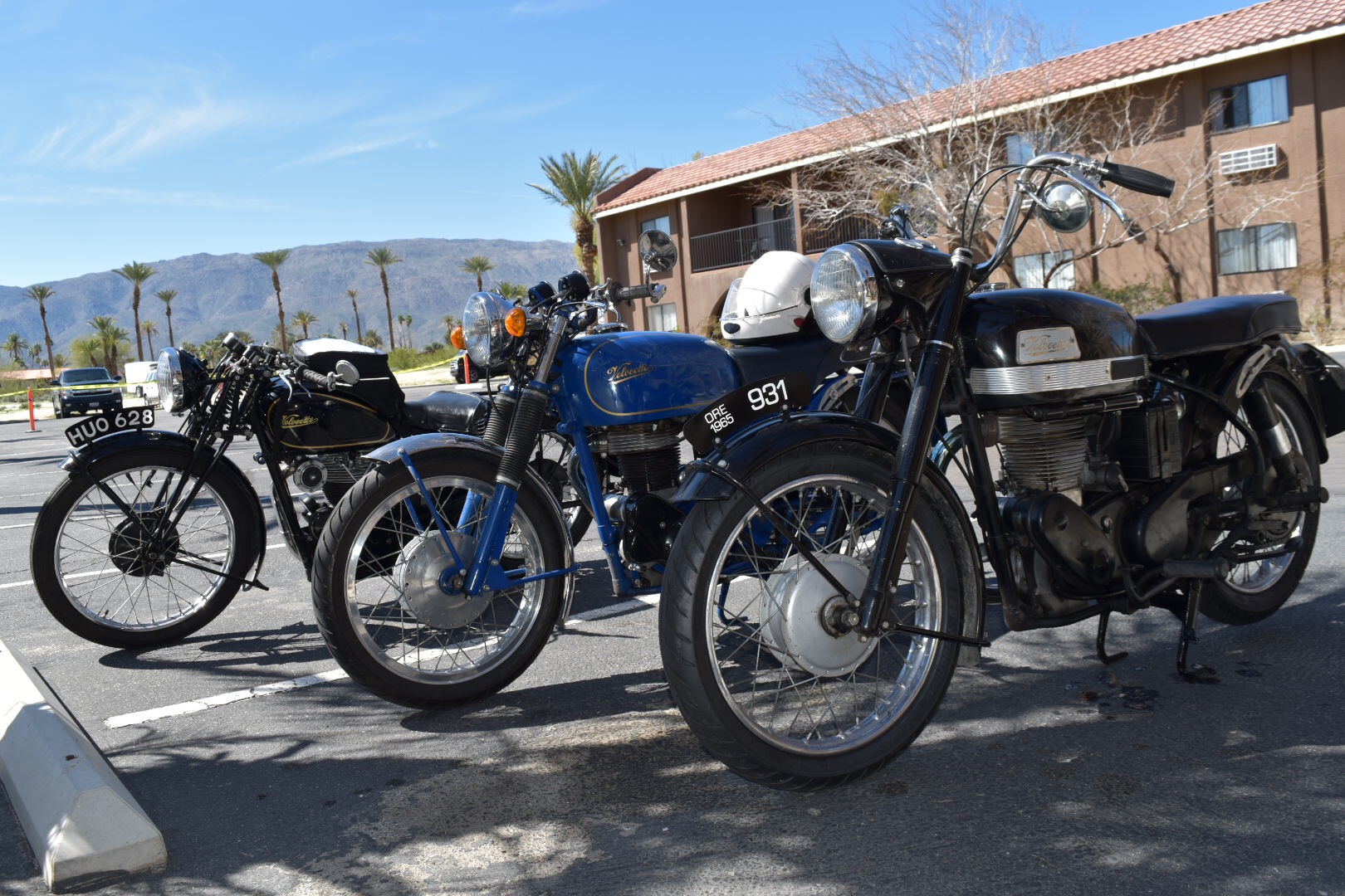 Trio of Velocette motorcycles