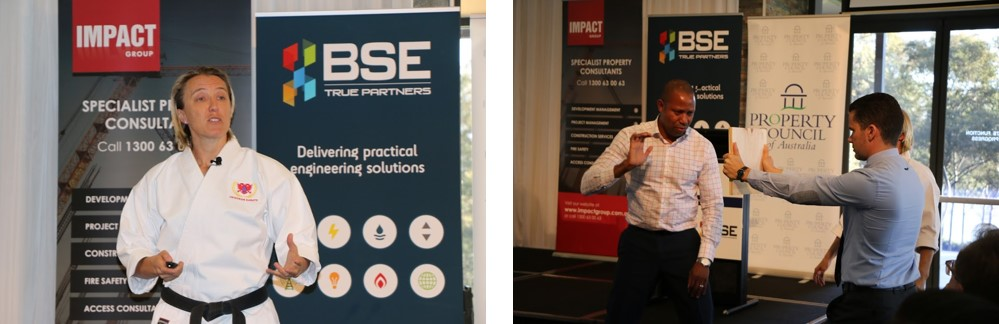 Images:Nadine Champion addressing the delegates and BSE's Godfrey Frederick showing his 10 seconds of courage.