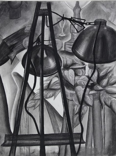 """M. R.,  Relative Value Assignment,  charcoal, 18 x 24"""", from Observation & Visualization, spring 2017"""