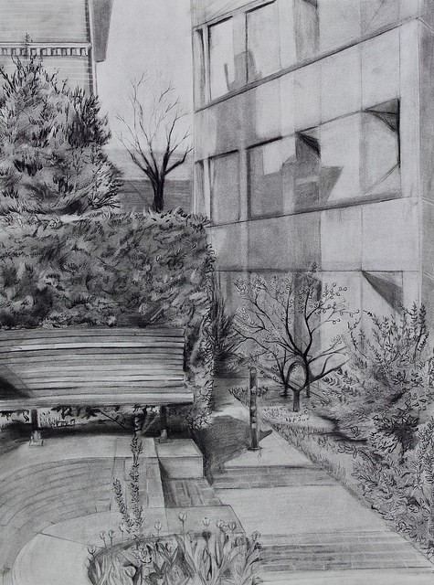 """G. A.,  Drawing on Site Assignment,  charcoal, 18 x 24"""", from Observation & Visualization, spring 2017"""