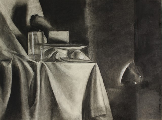 """M. M.,  Relative Value Assignment,  charcoal, 18 x 24"""", from Observation & Visualization, fall 2016"""
