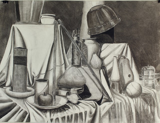 """H. H.,  Local Value Assignment,  charcoal, 18 x 24"""", from Observation & Visualization, fall 2016"""